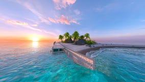 representación de 3D CG de la playa foto de archivo