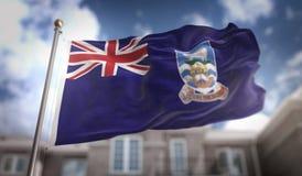 Representación de Falkland Islands Flag 3D en el cielo azul que construye Backgrou stock de ilustración
