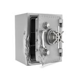 Representación de la caja segura abierta con su puerta rota aislada en el fondo blanco imágenes de archivo libres de regalías