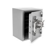 Representación de la caja segura de acero con la puerta abierta, aislada en el fondo blanco Imagen de archivo libre de regalías