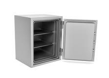 Representación de la caja segura de acero con la puerta abierta, aislada en el fondo blanco imagenes de archivo