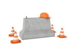 Representación de los conos de la construcción, casco anaranjado y muro de cemento, aislados en el fondo blanco Foto de archivo libre de regalías