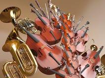 Representación de los instrumentos musicales 3D de la orquesta ilustración del vector