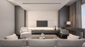 Representación de lujo sala de estar/3D Imágenes de archivo libres de regalías