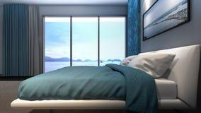 Representación de lujo visión/3D del mar del dormitorio principal Fotos de archivo libres de regalías