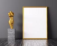 Representación de oro del marco y de la estatua 3d stock de ilustración