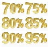 Representación de oro fotorrealista de un símbolo para %  Imagen de archivo