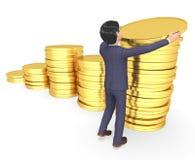 Representación de Person And Investment 3d del negocio de los medios de los ahorros de las monedas Fotografía de archivo libre de regalías