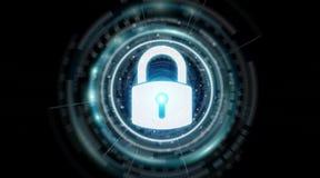 Representación de protección de los datos 3D del interfaz de la seguridad del candado Fotografía de archivo