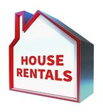 Representación de Real Estate 3d de los medios de los alquileres de la casa Imagen de archivo libre de regalías