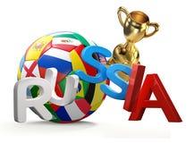 Representación de Rusia 3d del balón de fútbol Imágenes de archivo libres de regalías