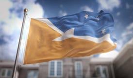 Representación de Tierra del Fuego Flag 3D en el cielo azul que construye Backgrou stock de ilustración