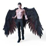 Representaci?n de un ?ngel oscuro masculino hermoso con las alas negras ilustración del vector