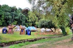 Representación de un acampamento medieval foto de archivo