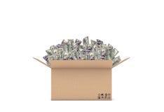 Representación de una caja abierta del cartón con muchos 100 billetes de dólar que se pegan hacia fuera Imagenes de archivo