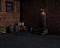 Representación del callejón abandonado oscuro stock de ilustración