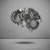 Representación del cerebro 3D del mecanismo de engranajes Imagen de archivo libre de regalías