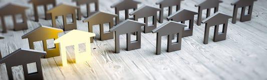 Representación del concepto 3d de las propiedades inmobiliarias ilustración del vector