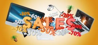 Representación del concepto 3D de las ventas y de los dispositivos Fotos de archivo libres de regalías