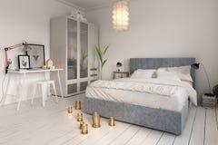 Representación del diseño interior 3D del dormitorio stock de ilustración