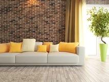 Representación del diseño interior de la sala de estar o del salón Fotografía de archivo libre de regalías