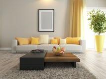 Representación del diseño interior de la sala de estar o del salón Fotografía de archivo