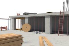Representación del edificio bajo construcción en el fondo blanco libre illustration