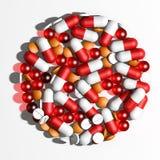 Representación del fondo 3d de las píldoras Imágenes de archivo libres de regalías