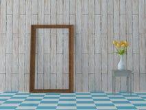 Representación del fondo de madera del vintage de las tejas de la primavera de los tulipanes azules brillantes de la flor Imagen de archivo libre de regalías