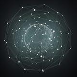 Representación del interfaz de red de la tierra del vuelo 3D Foto de archivo libre de regalías