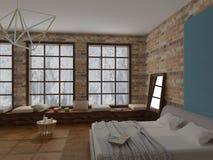 Representación del interior acogedor del dormitorio en estilo del desván con el suelo de parqué suave de la cama de la pared de l Imagen de archivo