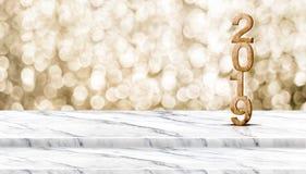 Representación del número 3d de madera 2019 de Feliz Año Nuevo en el paso mA blanco Fotografía de archivo