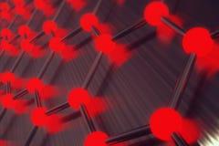 Representación del primer geométrico hexagonal de la forma de la nanotecnología abstracta roja, estructura atómica del graphene d ilustración del vector