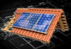Representación del tejado 3D de los paneles solares Fotos de archivo libres de regalías