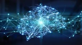 Representación digital de la radiografía 3D del cerebro humano ilustración del vector