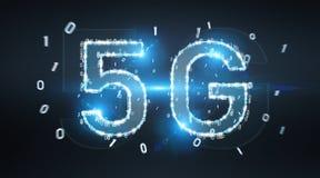 representación digital del holograma 3D de la red 5G Ilustración del Vector
