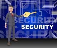 Representación elegante profesional del escudo 3d de la seguridad cibernética ilustración del vector