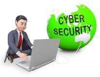 Representación elegante profesional del escudo 3d de la seguridad cibernética stock de ilustración