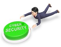 Representación elegante profesional del escudo 3d de la seguridad cibernética libre illustration