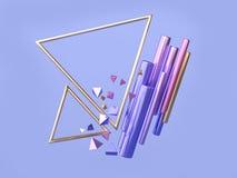 Representación flotante del marco 3d del triángulo del oro de la forma geométrica azul/púrpura del rosa del marco del triángulo libre illustration