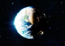 representación fotorrealista 3d de la tierra y de la luna Imagen de archivo libre de regalías