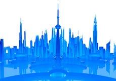 Representación futurista de cristal de la ciudad 3d Foto de archivo libre de regalías