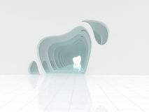 Representación grande ligera vacía del pasillo 3D foto de archivo libre de regalías