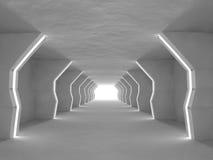 Representación grande ligera vacía del pasillo 3D fotos de archivo