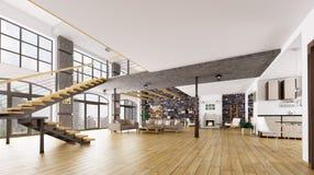 Representación interior 3d del apartamento del desván stock de ilustración