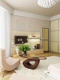 Representación interior del dormitorio moderno Imágenes de archivo libres de regalías