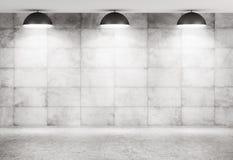 Representación interior del fondo 3d del muro de cemento y del piso stock de ilustración