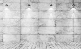 Representación interior del fondo 3d del muro de cemento y del piso de madera Fotos de archivo libres de regalías