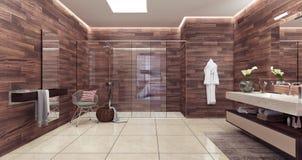 Representación moderna del diseño 3D del cuarto de baño foto de archivo