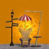 Representación muy surrealista de una silla con divertido Imagen de archivo libre de regalías